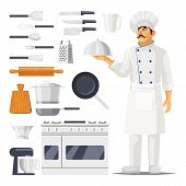 Set Of Isolated Kitchen Utensil And Cook With Hat And Apron. Knife And Spoon Cutlery, Cup Dish And G poster
