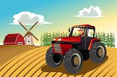 image of riding-crop  - A vector illustration of a farmer riding a tractor working in his farm - JPG