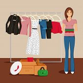Vector Illustration Of Clothes Donation. Girl Is Keeping Clothes And Carton Boxes Full Of Clothes. J poster
