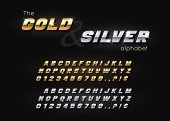 Vector Gold And Silver Font And Alphabet. Abc, English Letters And Numbers poster