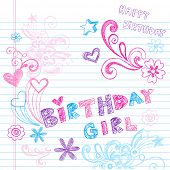 image of tween  - Happy Birthday Party Sketchy Back to School Hand - JPG
