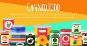 Canned Food Poster Vector Illustration. Vegetable Product Tinned Container Metal Packaging. Soup Con poster