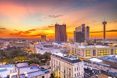 San Antonio, Texas, USA Skyline at dusk from above.  poster