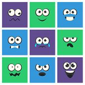 Emoji With Different Emotive Feelings Set, Kawaii Emoticons, Funny Faces With Different Emotions Vec poster