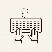 Keyboard Line Icon. Typing, Computer, Email. Author Concept. Can Be Used For Topics Like Journalist, poster