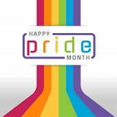 Happy Pride Month Banner With Typography Text On Line Colorful Rainbow Bend Up Vector Design poster