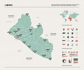 Vector Map Of Liberia. High Detailed Country Map With Division, Cities And Capital Monrovia. Politic poster