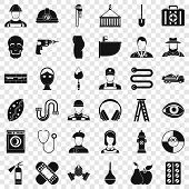 Useful Profession Icons Set. Simple Style Of 36 Useful Profession Vector Icons For Web For Any Desig poster