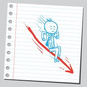 picture of cartoon people  - Businessman on arrow slipping down - JPG