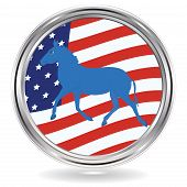 Donkey Political Symbol Of The Democrats On The Background Of The Usa Flag - Metal Round Icon - Vect poster