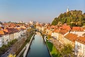 Cityscape Of Ljubljana, Capital Of Slovenia In Warm Afternoon Sun. poster