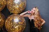 Portrait Gorgeous Playful Young Woman With Long Curly Blonde Hair Having Fun With Big Balloons Full  poster