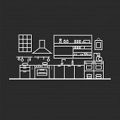 Kitchen Interior Furniture Cutlery Tableware Cooking Flat Illustration Colorless poster