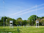 Green Lawn With Meteorological Instruments For Measuring The Wind Speed, Temperature And Humidity On poster