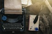 Typewriter And Book On A Writer Author Table Background. Memoirs. poster
