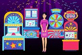 Girl Visiting Casino Place Banner Vector Illustration. Win Jackpot In Game Slot Machine. Casino Buil poster