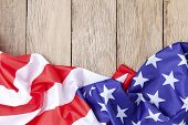 American Flags On Old Wood For Background,image For 4Th Of July Independence Day,presidents Day,mar poster