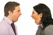 image of scream  - Close up of furious heads of business people having dispute and screaming each other over white background - JPG