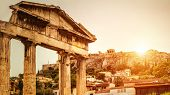Roman Agora At Sunset In Summer, Athens, Greece. It Is One Of The Top Landmarks Of Athens City. Sunn poster