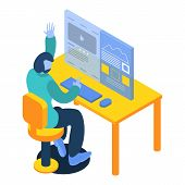 Man Working On Desktop Computer Icon. Isometric Of Man Working On Desktop Computer Vector Icon For W poster