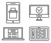 Politic Online Vote Icons Set. Outline Set Of Politic Online Vote Icons For Web Design Isolated On W poster