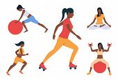 Set Of Girls Fitness Activities. Woman Exercising With Ball, Running, Meditating, Roller Skating. Sp poster