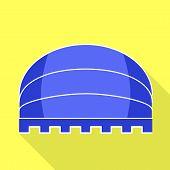 Blue Round Awning Icon. Flat Illustration Of Blue Round Awning Icon For Web Design poster
