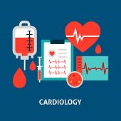 Cardiology Blood Concept. Vector Illustration With Health Care Objects. poster