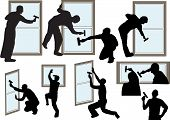 picture of window washing  - window cleaners in different positions washing windows - JPG