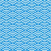 Seamless Pattern With Blue And White Waves. Waves Of Water In Chinese Style. Vector Linear Ornament. poster