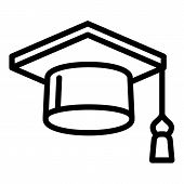 Square Academic Cap Icon. Outline Square Academic Cap Icon For Web Design Isolated On White Backgrou poster