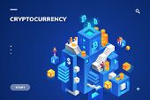 Isometric Illustration For Cryptocurrency And Blockchain Technology, Crypto Money And Financial Bloc poster