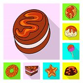 Vector Design Of Confectionery And Culinary Logo. Collection Of Confectionery And Colorful Stock Vec poster