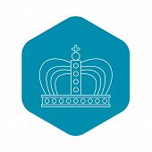 Monarchy Crown Icon. Outline Illustration Of Monarchy Crown Vector Icon For Web poster
