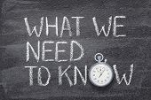 What We Need To Know Phrase Written On Chalkboard With Vintage Precise Stopwatch poster