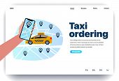 Web Page Design Template For Taxi Ordering. Hand Holding Smartphone With Taxi Service App On The Scr poster