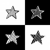 Cute Cartoon Hand Drawn Star Silhouette Set. Sweet Vector Black And White Star Silhouette Set. Isola poster