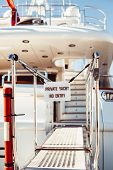 Bridge Of Private Luxury Ship With Prohibited Entry Sign Private Yacht No Entry In Marina Of Cannes, poster