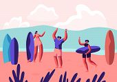 Surf Party On Exotic Seaside Resort. Male And Female Sportsmen With Boards Relax On Sandy Beach. Sum poster