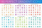 180 Vector Trendy Perfect Gradient Icons Set Of Business Motivation, Analysis, Business Essentials,  poster