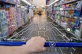 Retail Marketing Channels E-commerce Shopping Automation Concept On Blurred Supermarket Background. poster