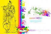 foto of radha  - illustration of Radha Krishna on holi wallpaper - JPG
