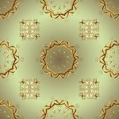 Classic Vintage Background. Seamless Pattern On Neutral And Brown Colors With Golden Elements. Seaml poster