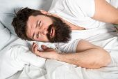 Lazy Morning. Relax And Sleep Concept. Man Bearded Guy Sleep On White Sheets. Healthy Sleep And Well poster