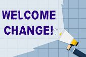 Conceptual Hand Writing Showing Welcome Change. Business Photo Text To Accept With Pleasure The Occu poster