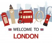 Welcome To England Banner Vector Illustration. London Tourist Sights And Symbols Of Great Britain, D poster