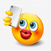 Cute Emoticon Taking Selfie With His Smartphone, Emoji  - Vector Illustration poster