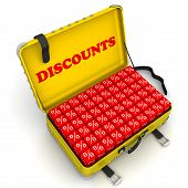 Open Suitcase Full Of Discounts. Financial Concept. Yellow Suitcase Full Of Red Cubes With Percentag poster