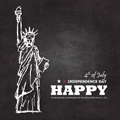 4th Of July Happy Independence Day Of America Background . Statue Of Liberty Drawing Design With Tex poster