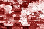Old Grungy Brick Wall Texture In Red Tone. Abstract Architectural Background And Texture For Design. poster